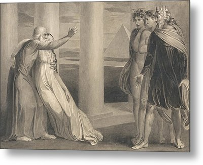 Tiriel Supporting The Dying Myratana And Cursing His Sons Metal Print by William Blake