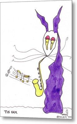 Tis Sax Lady Metal Print by Tis Art