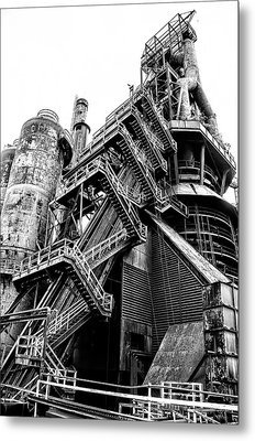 Titan Of Industry - Bethlehem Steel Mill In Black And White Metal Print by Bill Cannon