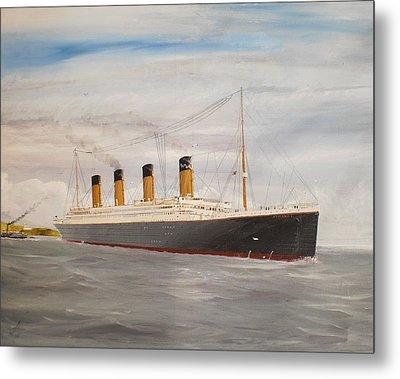 Titanic Departing Queenstown Metal Print by James McGuinness