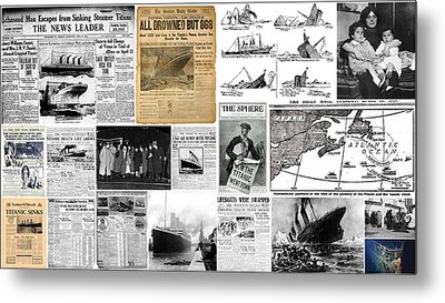 Titanic Headlines From 1912 Metal Print