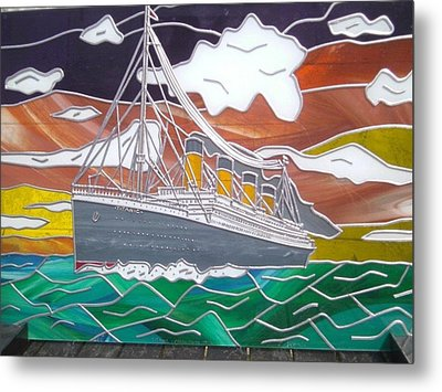 Titanics Last Sunset In Beautiful Stained Glass. Metal Print by Robin Jeffcoate