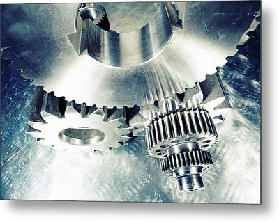 Titanium Aerospace Cogs And Gears Metal Print by Christian Lagereek