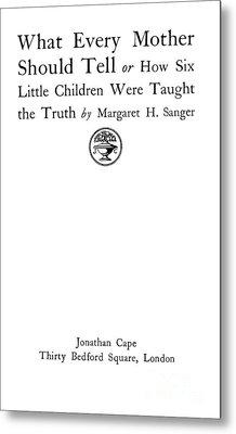 Title Page Of Margaret Sanger Metal Print