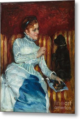 Title Woman On A Striped Sofa With A Dog Metal Print
