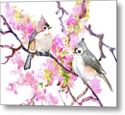 Titmice And Cheery Blossom Metal Print by Suren Nersisyan