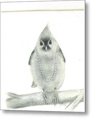 Titmouse With Pearls Metal Print by Danielle McCoy