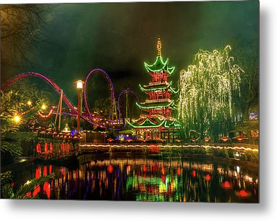 Tivoli Gardens In Copenhagen By Night  Metal Print by Carol Japp