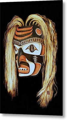 Tlingit Shark Mask In Color Metal Print by Cynthia Adams