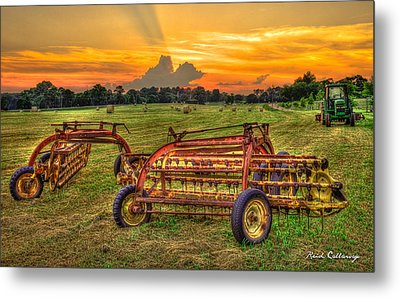 To Be Continued Hayfield Sunset Metal Print by Reid Callaway