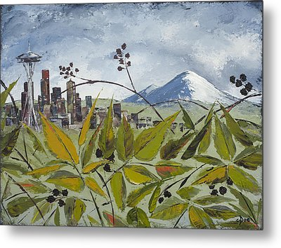 To Get To The City You Must Go Thru The Blackberries Metal Print by Carolyn Doe