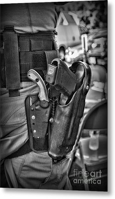 To Protect And Serve In Black And White  Metal Print by Paul Ward