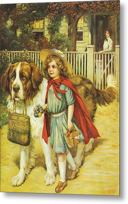 To School Well Fed With Grape Nuts Metal Print