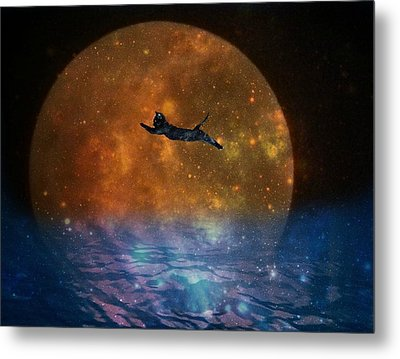 To The Moon And Back Cat Metal Print