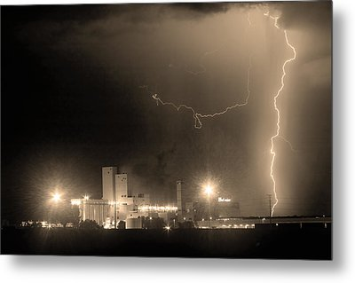 To The Right Budweiser Lightning Strike Sepia  Metal Print by James BO  Insogna