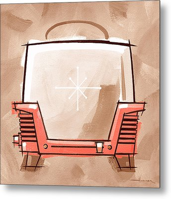 Toaster Coral And Tan Metal Print by Larry Hunter