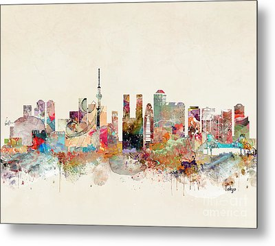Metal Print featuring the painting Tokyo City Skyline by Bri B