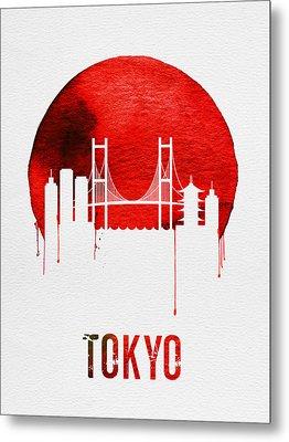 Tokyo Skyline Red Metal Print by Naxart Studio