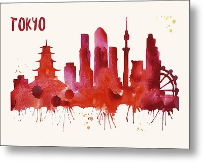 Tokyo Skyline Watercolor Poster - Cityscape Painting Artwork Metal Print