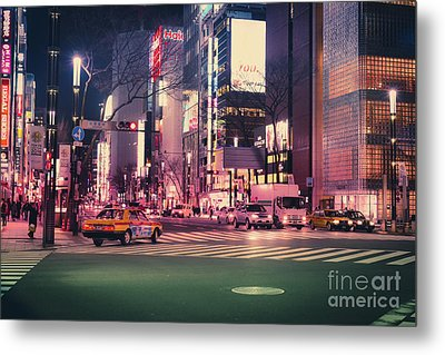 Tokyo Street At Night, Japan 2 Metal Print
