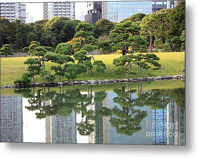 Tokyo Trees Reflection Metal Print by Carol Groenen