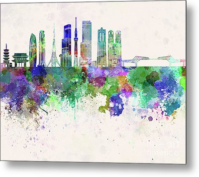 Tokyo V3 Skyline In Watercolor Background Metal Print