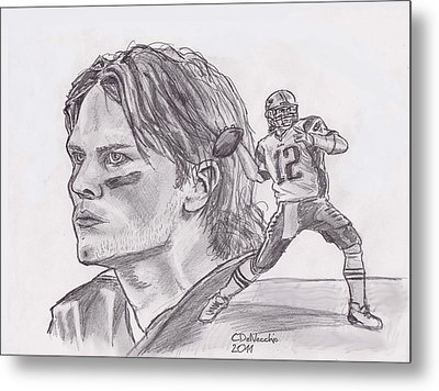 Metal Print featuring the drawing Tom Brady by Chris  DelVecchio