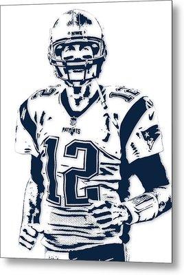 Tom Brady New England Patriots Pixel Art 6 Metal Print
