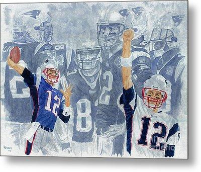 Tom Brady Quarterback Study 1 Metal Print by George  Brooks
