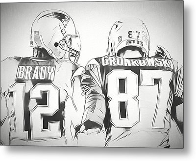 Metal Print featuring the drawing Tom Brady Rob Gronkowski Sketch by Dan Sproul