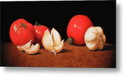 Tomatoes And Garlic Metal Print by Timothy Jones