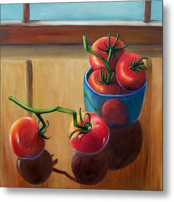 Metal Print featuring the painting Tomatoes Fresh Off The Vine by Susan Dehlinger