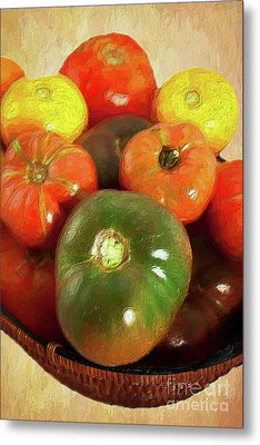Metal Print featuring the painting Tomatoes In A Basket Ap by Dan Carmichael