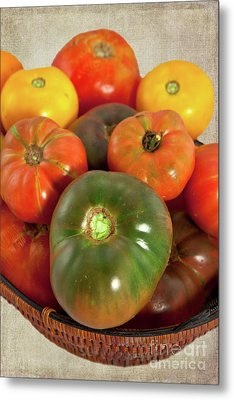 Metal Print featuring the photograph Tomatoes In A Basket by Dan Carmichael