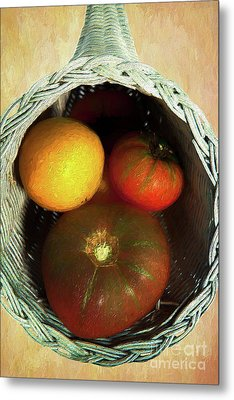 Metal Print featuring the painting Tomatoes In A Horn Of Plenty Basket 2 Ap by Dan Carmichael
