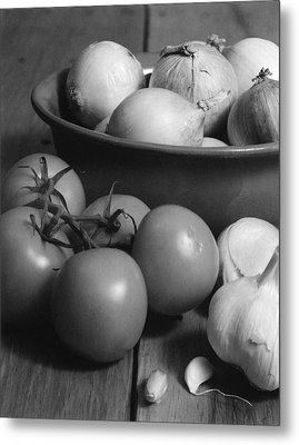 Tomatos Onion And Garlic Metal Print by Henry Krauzyk