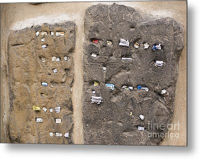 Tombstone Wall In Old Jewish Cemetery. Prague Metal Print by Juli Scalzi