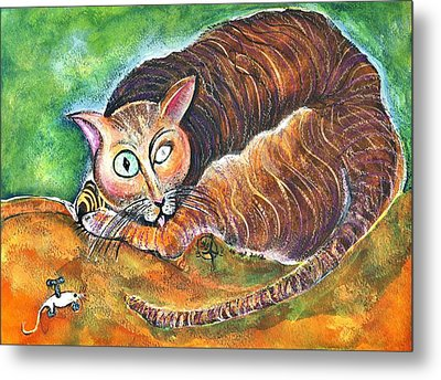 Tomcat And His Toy Metal Print by Ion vincent DAnu