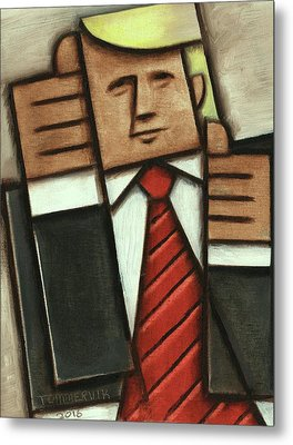 Metal Print featuring the painting Tommervik Abstract Donald Trump Thumbs Up Painting by Tommervik
