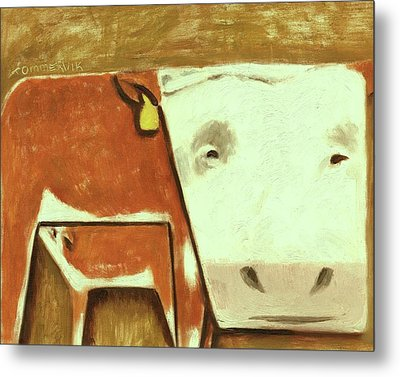 Metal Print featuring the painting Tommervik Cow Milking Calf Cow Art Print by Tommervik