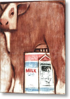 Metal Print featuring the painting Tommervik Cows Milk Art Print by Tommervik