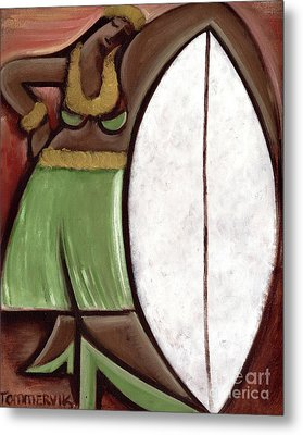 Metal Print featuring the painting Tommervik Hula Girl Surfboard Art Print by Tommervik