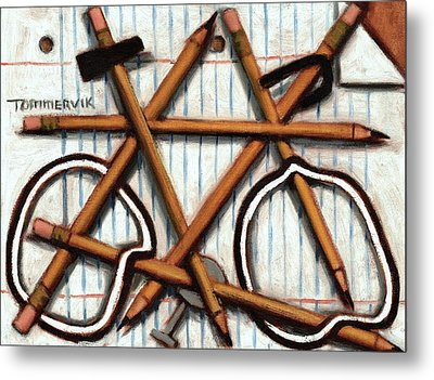 Metal Print featuring the painting Tommervik Orange Bicycle Art Print by Tommervik