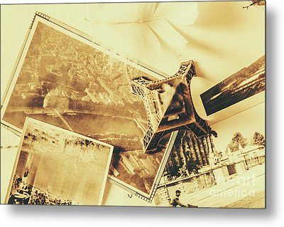 Toned Image Of Eiffel Tower And Photographs On Table Metal Print by Jorgo Photography - Wall Art Gallery
