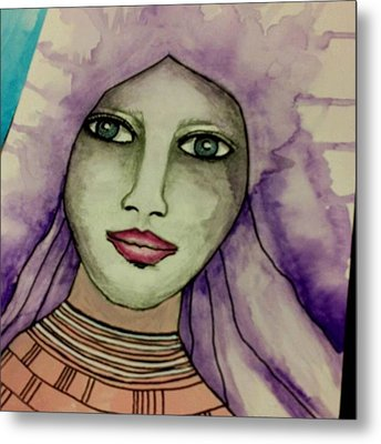 Tonights #face #portrait Metal Print by Robin Mead