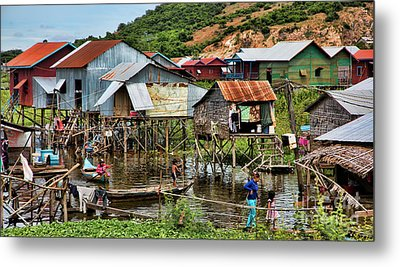 Tonle Sap Boat Village Cambodia Metal Print by Chuck Kuhn