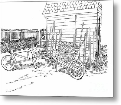 Tools Along The Farmer's Market Shed Metal Print by Dawn Boyer