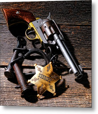 Tools Of Western Justice Metal Print by Olivier Le Queinec