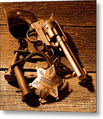 Tools Of Western Justice - Sepia Metal Print by Olivier Le Queinec