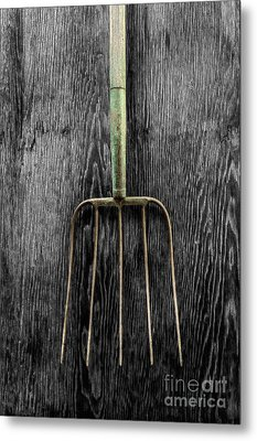 Metal Print featuring the photograph Tools On Wood 7 On Bw by YoPedro